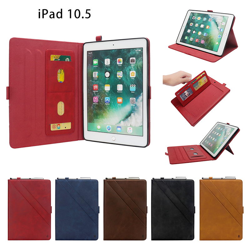 Horizontal Flip Stand Leather Case with Card Slot Photo Frame for iPad Pro 10.5'- Red