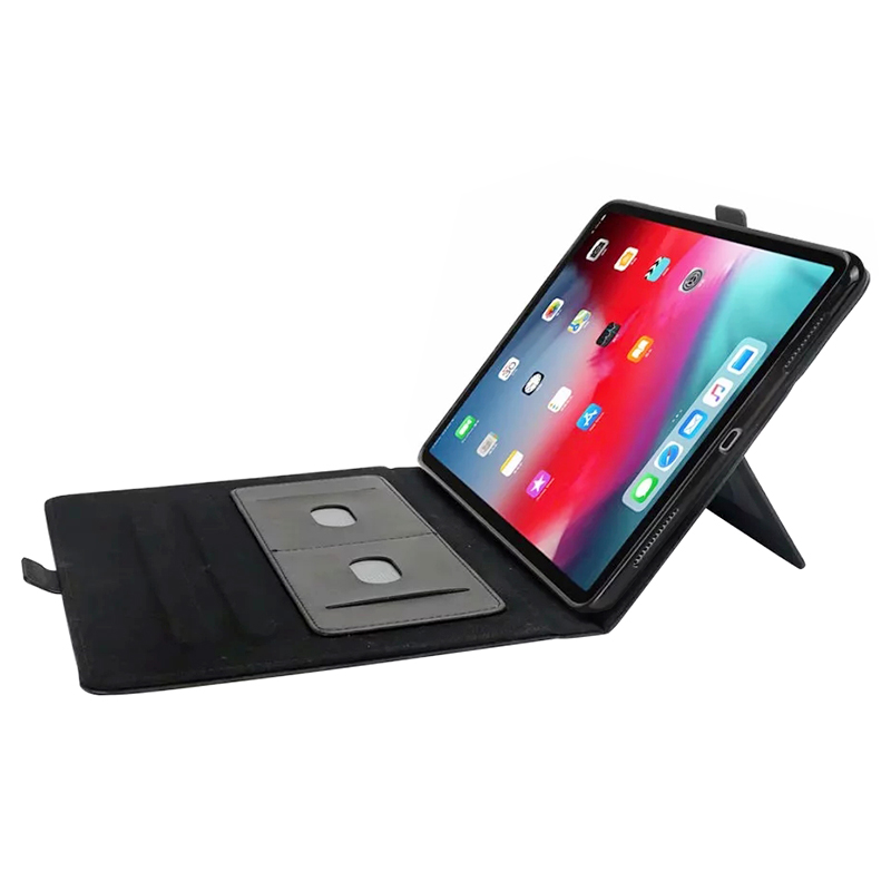 Flip Stand Double Holder Leather Case with Card Slot Photo Frame for iPad Pro 12.9'(2018) - Black