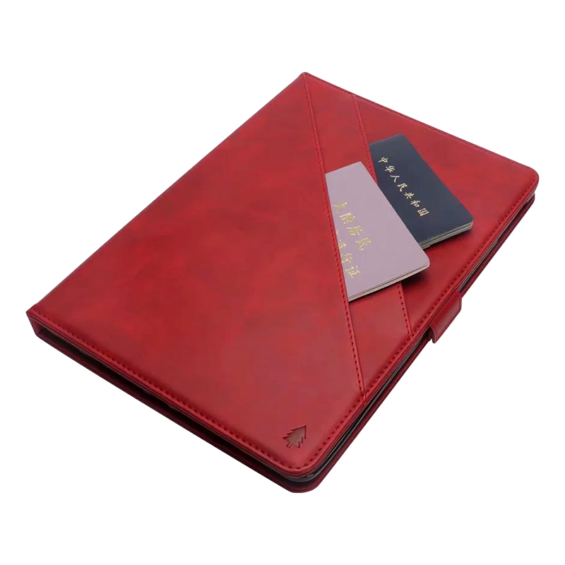 Flip Stand Double Holder Leather Case with Card Slot Photo Frame for iPad Pro 12.9'(2018) - Red