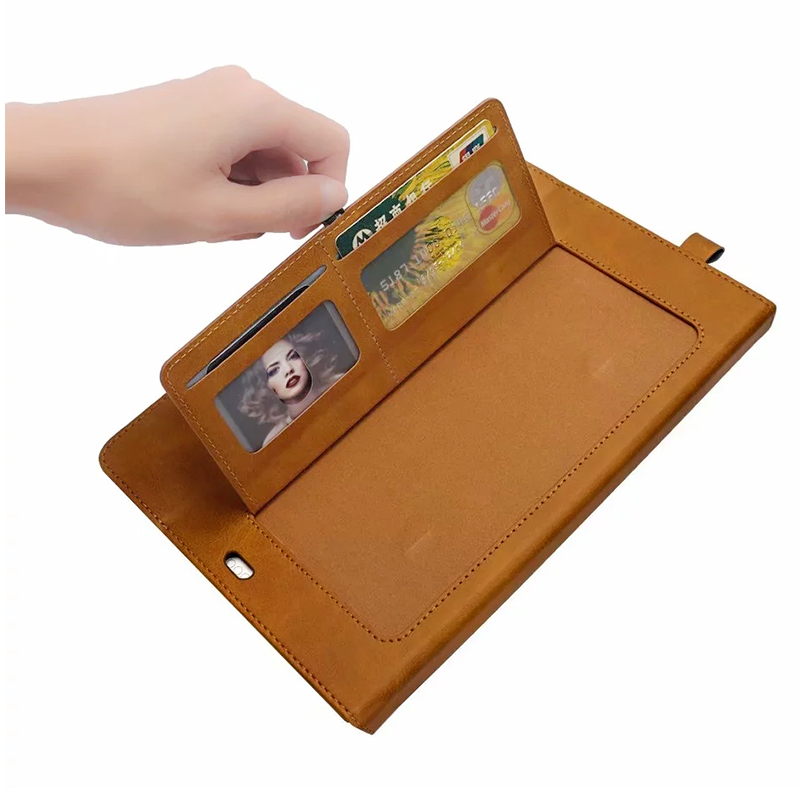 Flip Stand Double Holder Leather Case with Card Slot Photo Frame for iPad Pro 12.9'(2018) - Light Brown