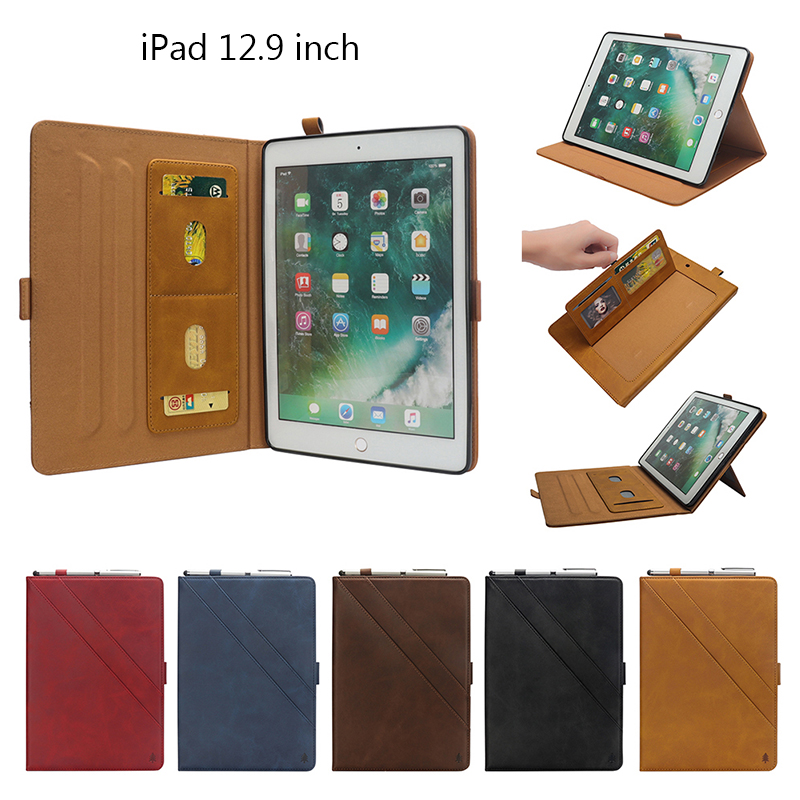 """Flip Double Holder Leather Tablet Case with Card Slot Kickstand Pen Slot for iPad Pro 12.9"""" 2016/2017 - Red"""
