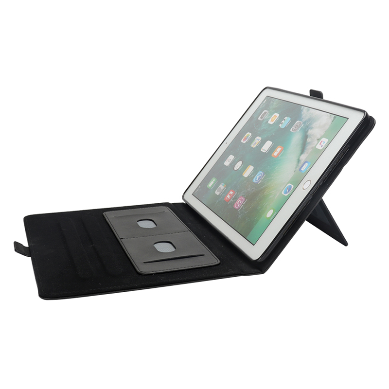 """Flip Double Holder Leather Tablet Case with Card Slot Kickstand Pen Slot for iPad Pro 12.9"""" 2016/2017 - Black"""