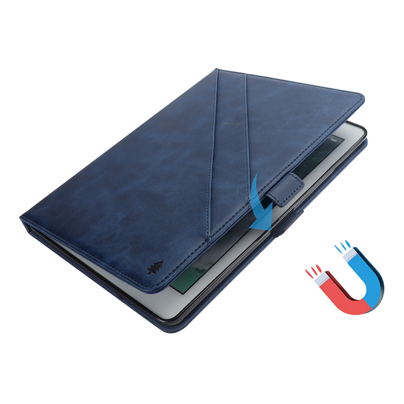 """Flip Double Holder Leather Tablet Case with Card Slot Kickstand Pen Slot for iPad Pro 12.9"""" 2016/2017 - Blue"""