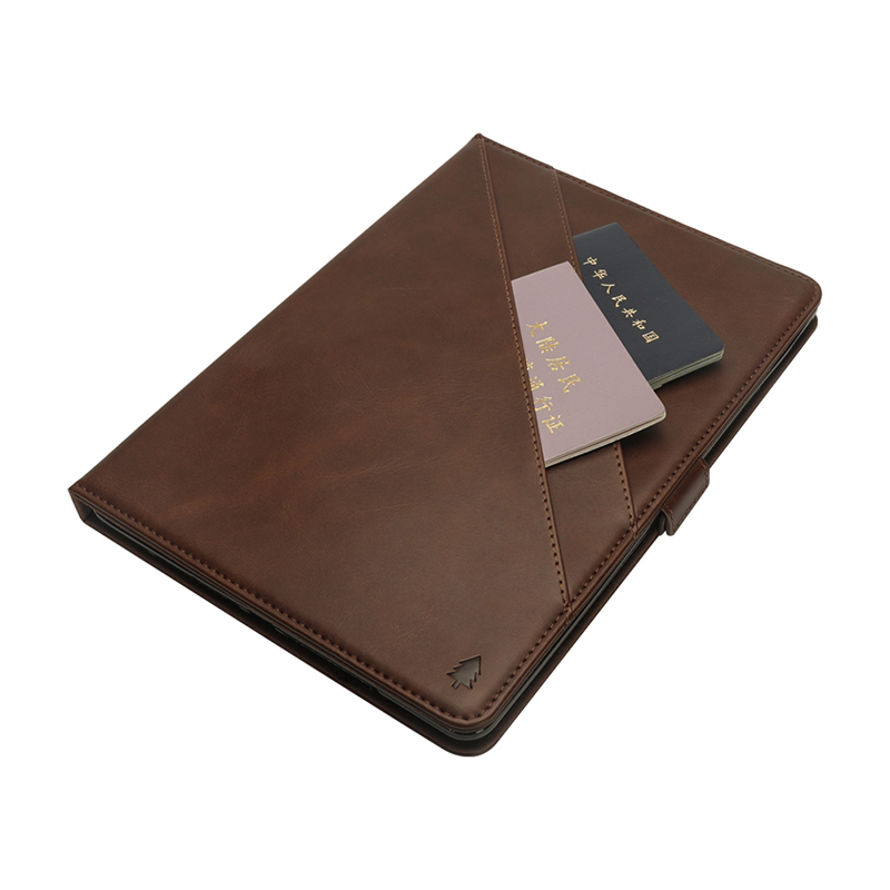 """Flip Double Holder Leather Tablet Case with Card Slot Kickstand Pen Slot for iPad Pro 12.9"""" 2016/2017 - Dark Brown"""