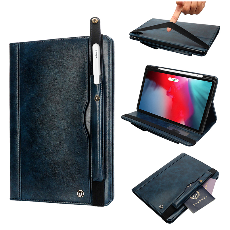 """Tablet PC Flip Wallet PU Leather Case Cover with Card Pen Slot Kickstand for iPad Pro 11"""" 2018 - Navy Blue"""