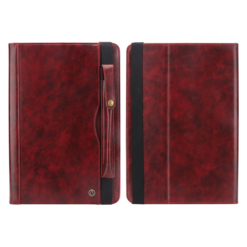 """Tablet PC Flip Wallet PU Leather Case Cover with Card Pen Slot Kickstand for iPad Pro 11"""" 2018 - Wine Red"""