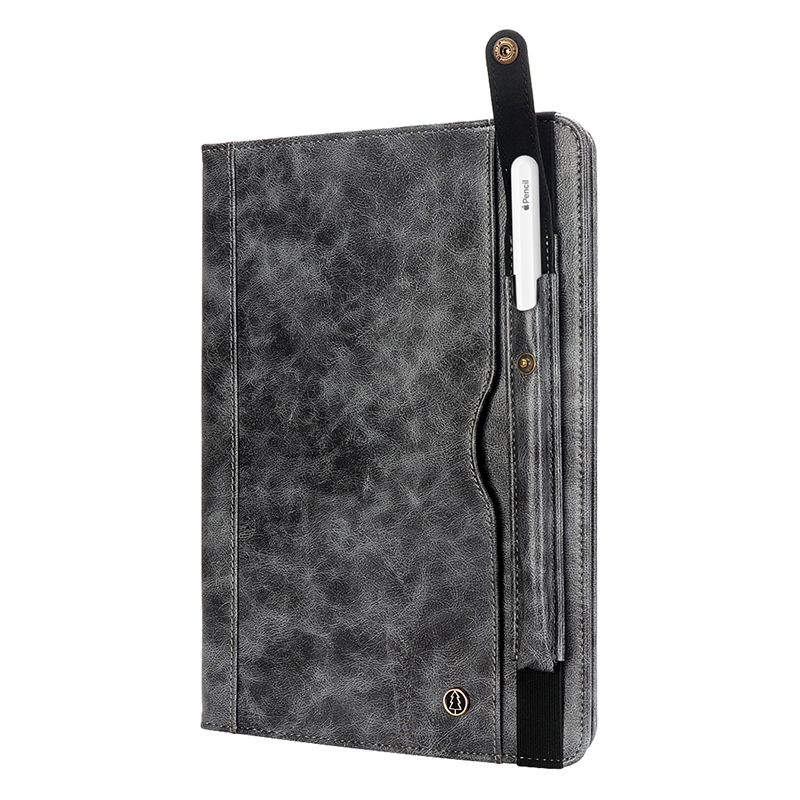 """Tablet PC Flip Wallet PU Leather Case Cover with Card Pen Slot Kickstand for iPad Pro 11"""" 2018 - Grey"""