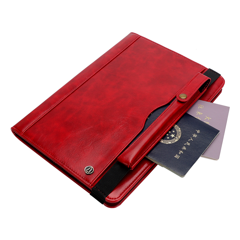 """Tablet PC Flip Wallet PU Leather Case Cover with Card Pen Slot Kickstand for iPad Pro 11"""" 2018 - Red"""