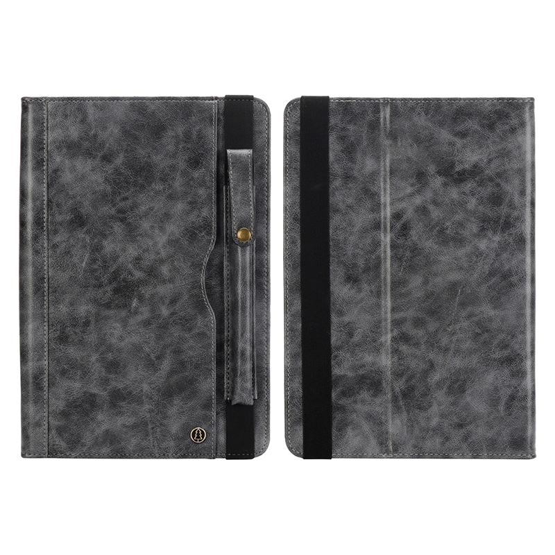 """Tablet PC Flip Wallet PU Leather Cover Case with Card Slot Pencil Holder Kickstand for iPad Pro 12.9"""" 2018 - Grey"""