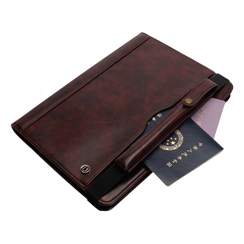 """Tablet PC Flip Wallet PU Leather Cover Case with Card Slot Pencil Holder Kickstand for iPad Pro 12.9"""" 2018 - Dark Brown"""