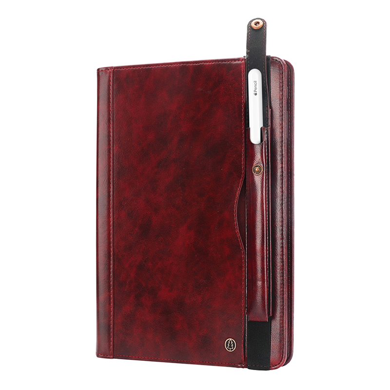 """Tablet PC Flip Wallet PU Leather Cover Case with Card Slot Pencil Holder Kickstand for iPad Pro 12.9"""" 2018 - Wine Red"""