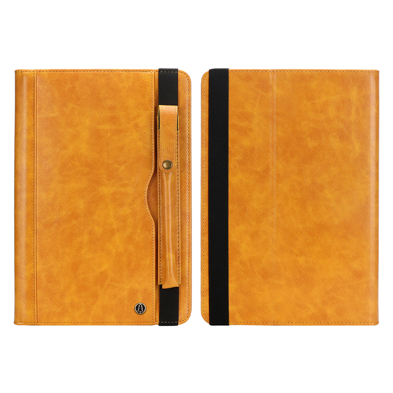 """Tablet PC Flip Wallet PU Leather Cover Case with Card Slot Pencil Holder Kickstand for iPad Pro 12.9"""" 2018 - Yellow"""