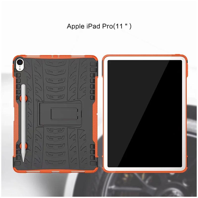 "Heavy Duty Hybrid PC + TPU Rugged Armor iPad Case Cover for iPad Pro 11"" - Orange"