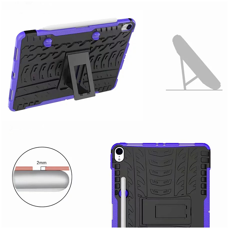 "Heavy Duty Hybrid PC + TPU Rugged Armor iPad Case Cover for iPad Pro 11"" - Purple"