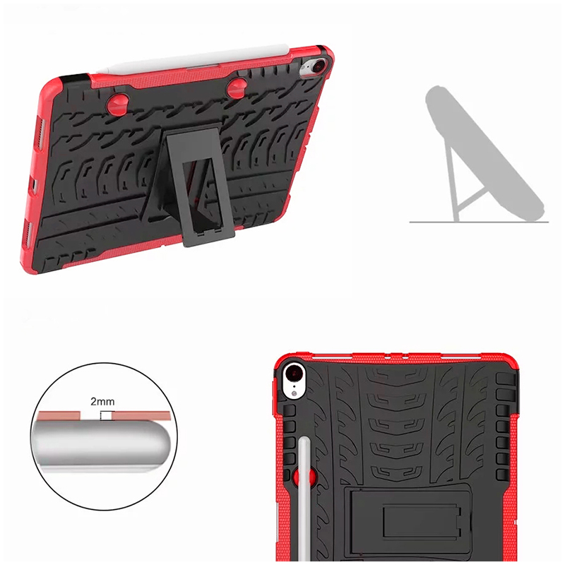 """Heavy Duty Hybrid PC + TPU Rugged Armor iPad Case Cover for iPad Pro 11"""" - Red"""