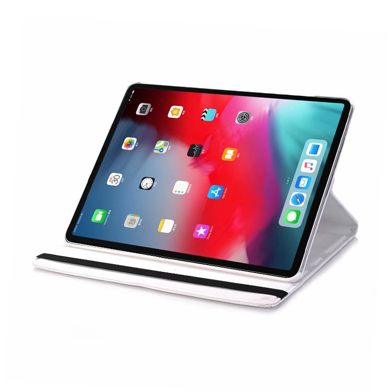 """360 Degree Rotating Smart Leather Stand Cover Case with Auto Sleep/Wake for Apple iPad Pro 12.9"""" 2018 - White"""