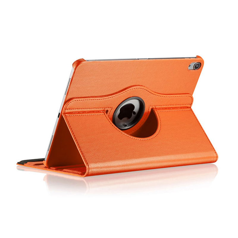 """360 Degree Rotating Smart PU Stand Cover Case with Auto Sleep/Wake Function for Apple iPad Pro 11"""" 2018 - Orange"""