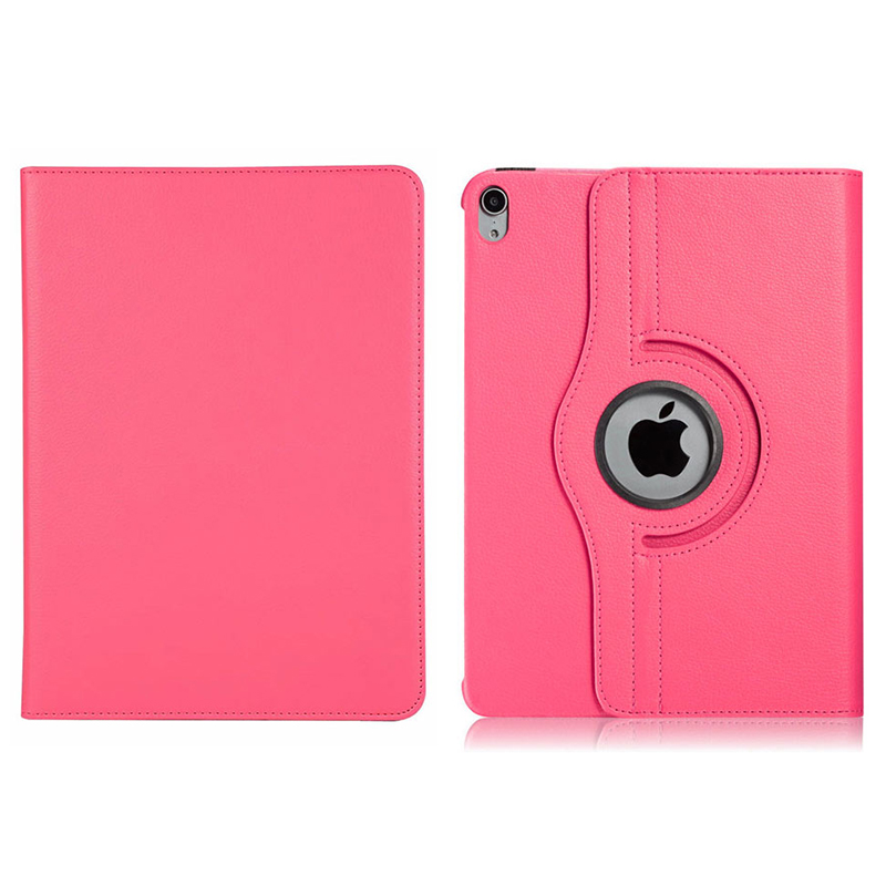 """360 Degree Rotating Smart PU Stand Cover Case with Auto Sleep/Wake Function for Apple iPad Pro 11"""" 2018 - Hot Pink"""