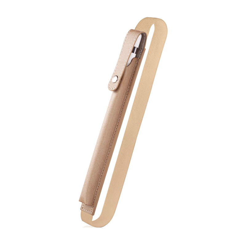 Elastic Strap PU Leather Pencil Pocket Case Pouch Cover Sleeve Holder for Apple Pencil - Gold