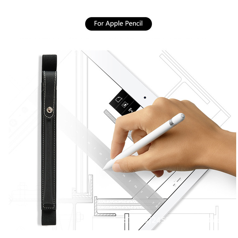 Elastic Strap PU Leather Pencil Pocket Case Pouch Cover Sleeve Holder for Apple Pencil - Black