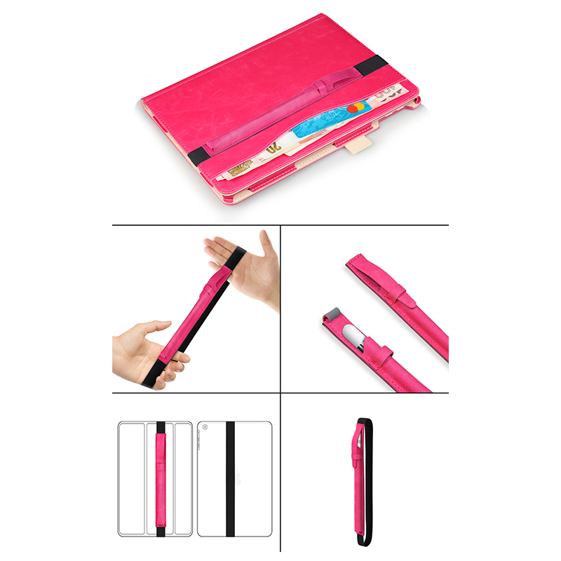 iPad Accessory Elastic Strap PU Leather Case Pouch Cover Sleeve Holder Holster for Apple Pencil - Hot Pink