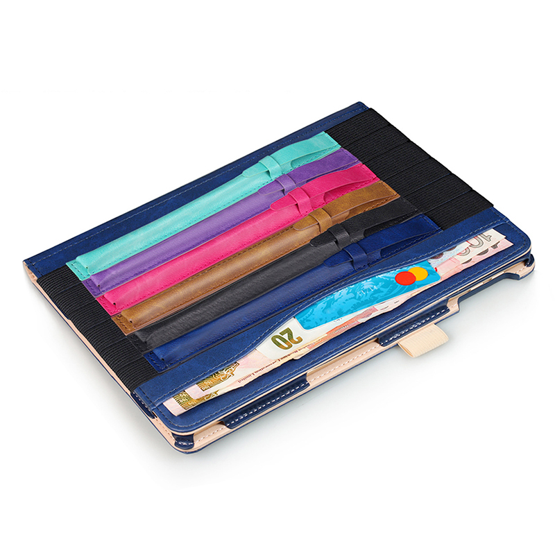 iPad Accessory Elastic Strap PU Leather Case Pouch Cover Sleeve Holder Holster for Apple Pencil - Dark Blue