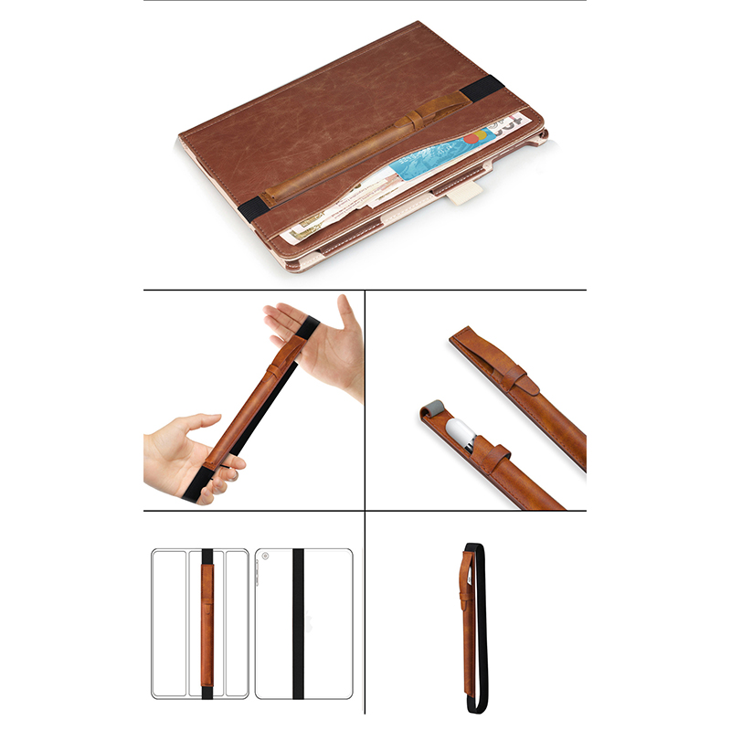 iPad Accessory Elastic Strap PU Leather Case Pouch Cover Sleeve Holder Holster for Apple Pencil - Brown