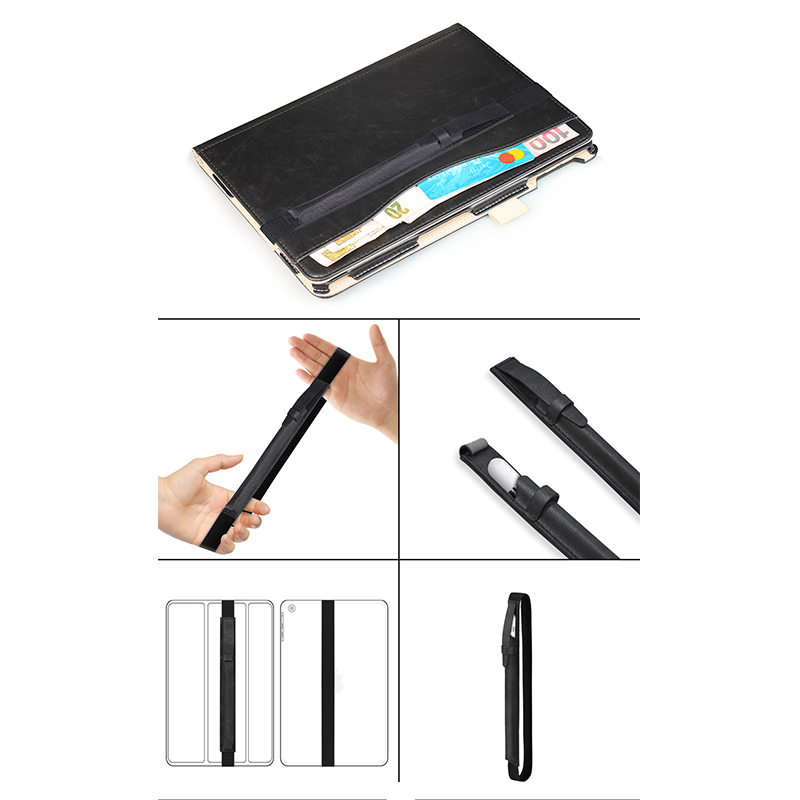 iPad Accessory Elastic Strap PU Leather Case Pouch Cover Sleeve Holder Holster for Apple Pencil - Black