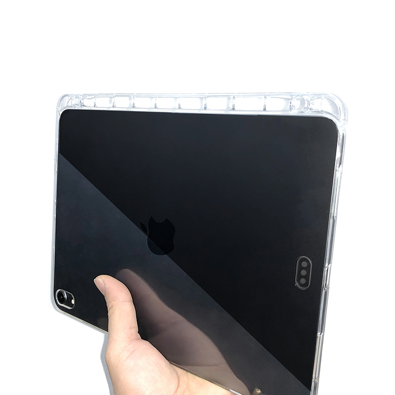 Crystal Transparent Soft TPU Back Cover With Pencil Holder for iPad Pro 11 inch 2018
