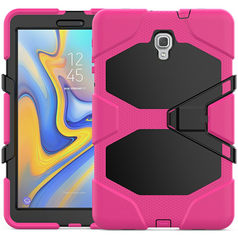 Heavy Duty Hybrid Silicone Bumper PC Full Cover Protective Case for Samsung Galaxy Tab A 10.5 Inch - Hot Pink