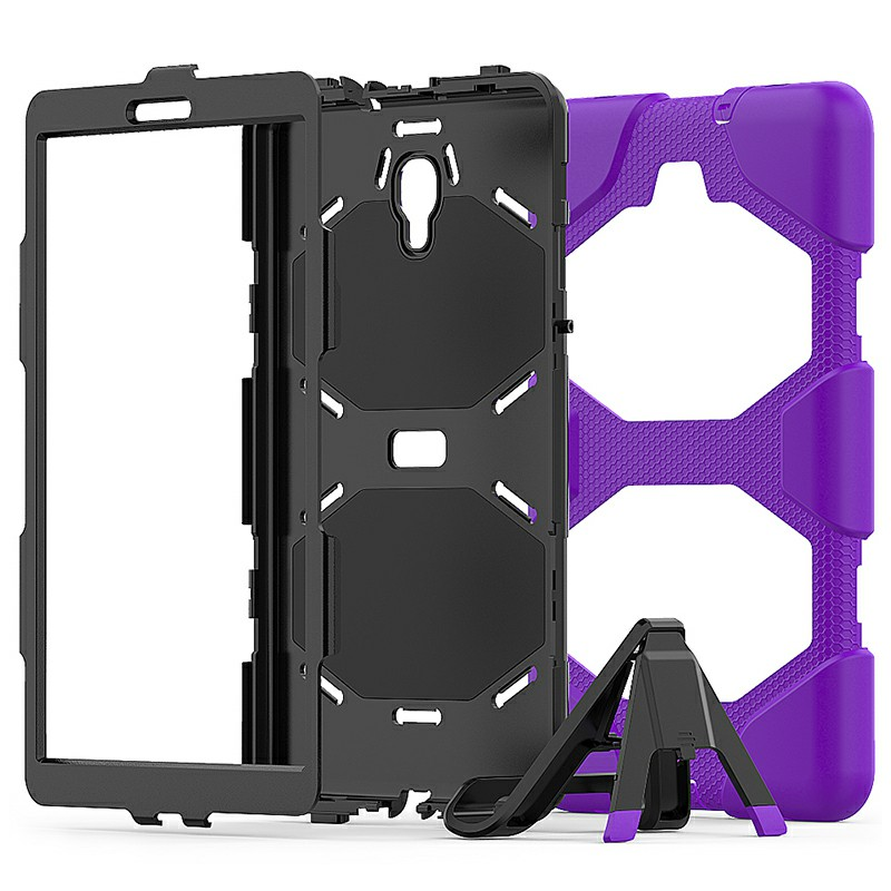 Heavy Duty Hybrid Silicone Bumper PC Full Cover Protective Case for Samsung Galaxy Tab A 10.5 Inch - Purple