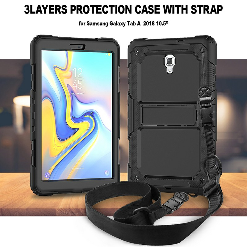 Heavy Duty Silicone Bumper PC Protective Case with Lanyard for Samsung Galaxy Tab A 10.5 Inch - Black