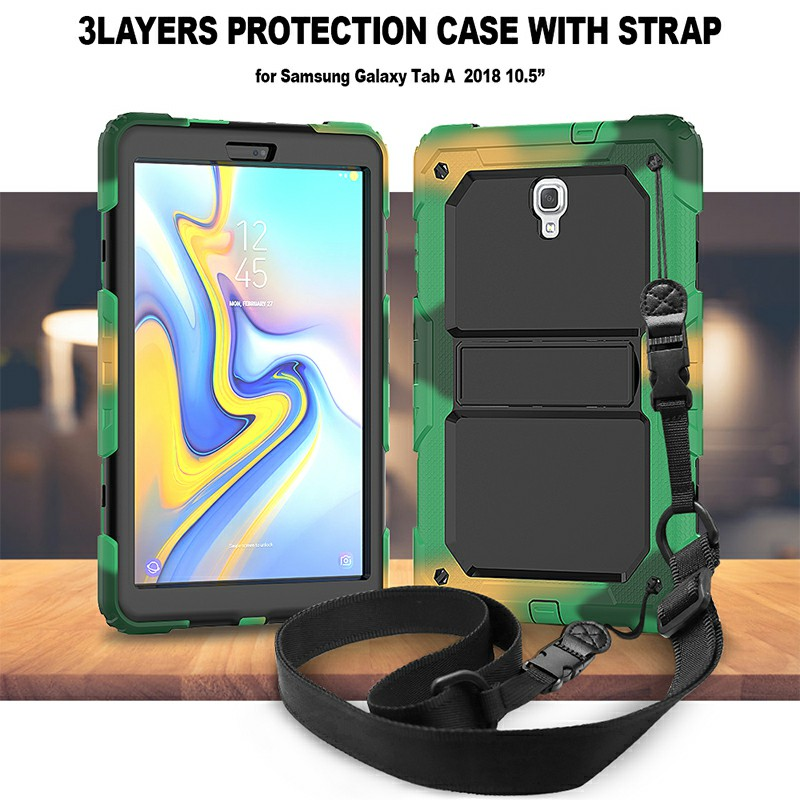 Heavy Duty Silicone Bumper PC Protective Case with Lanyard for Samsung Galaxy Tab A 10.5 Inch - Camouflage