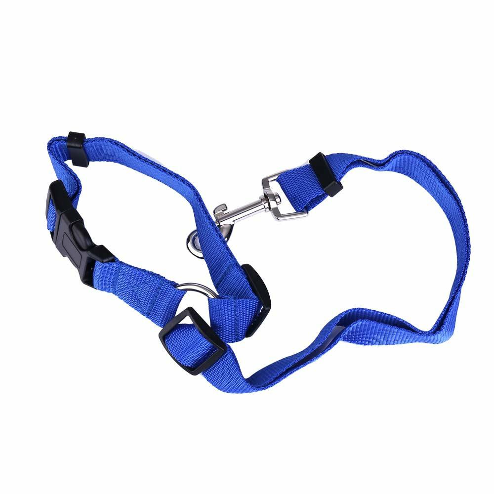 Dog Pet Adjustable Car Safety Seat Belt Harness Travel Lead Restraint Leash Belt Traction Rope - Dark Blue