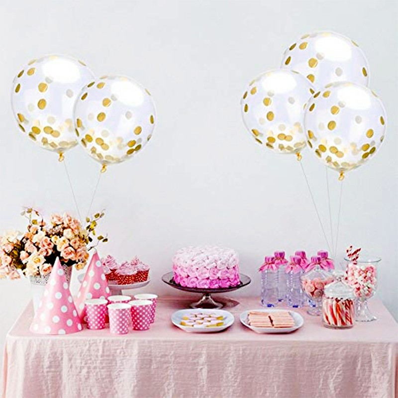 Bunting Banner and Foil Latex Confetti Round Sequins Balloon for Wedding Birthday Hen Party - Colorful
