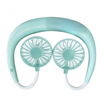 Portable USB Rechargeable Wearable Neckband Lazy Neck Hanging Dual Cooling Mini Fan - Green