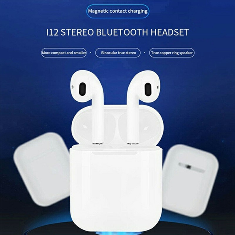 i12 5.0 TWS Bluetooth Headphones Candy Colour Outlook Touch Control Wireless Earphones Fit with Android iOS Microsoft - White