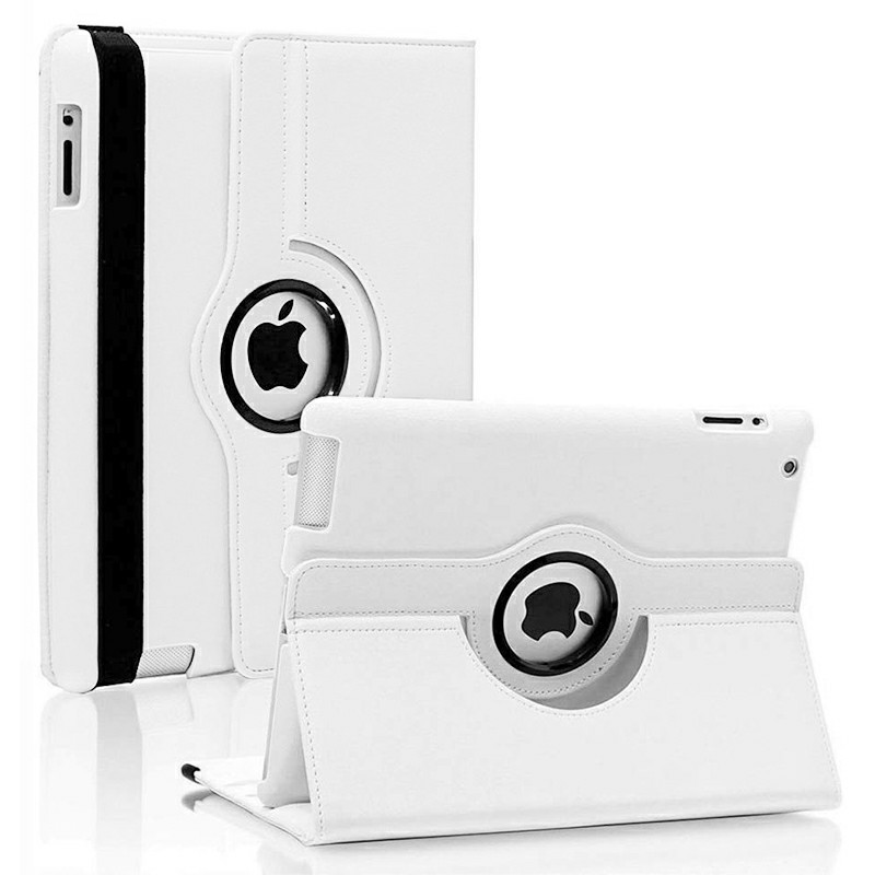 PU Leather Grainy Pattern 360 Degree Rotating Flip Case Protective Cover for iPad 2/3/4 - White