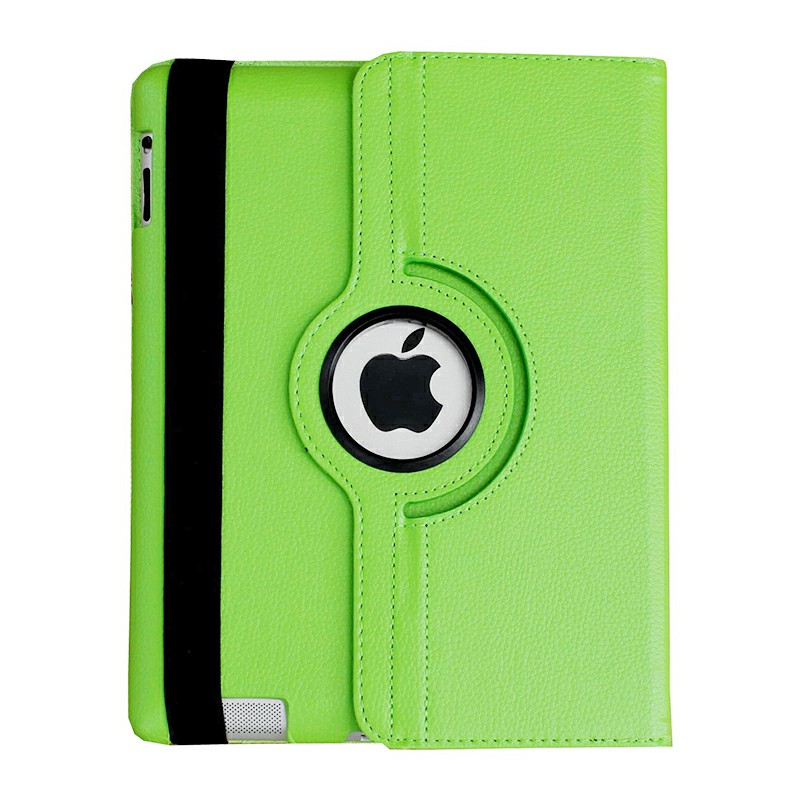 PU Leather Grainy Pattern 360 Degree Rotating Flip Case Protective Cover for iPad 2/3/4 - Green