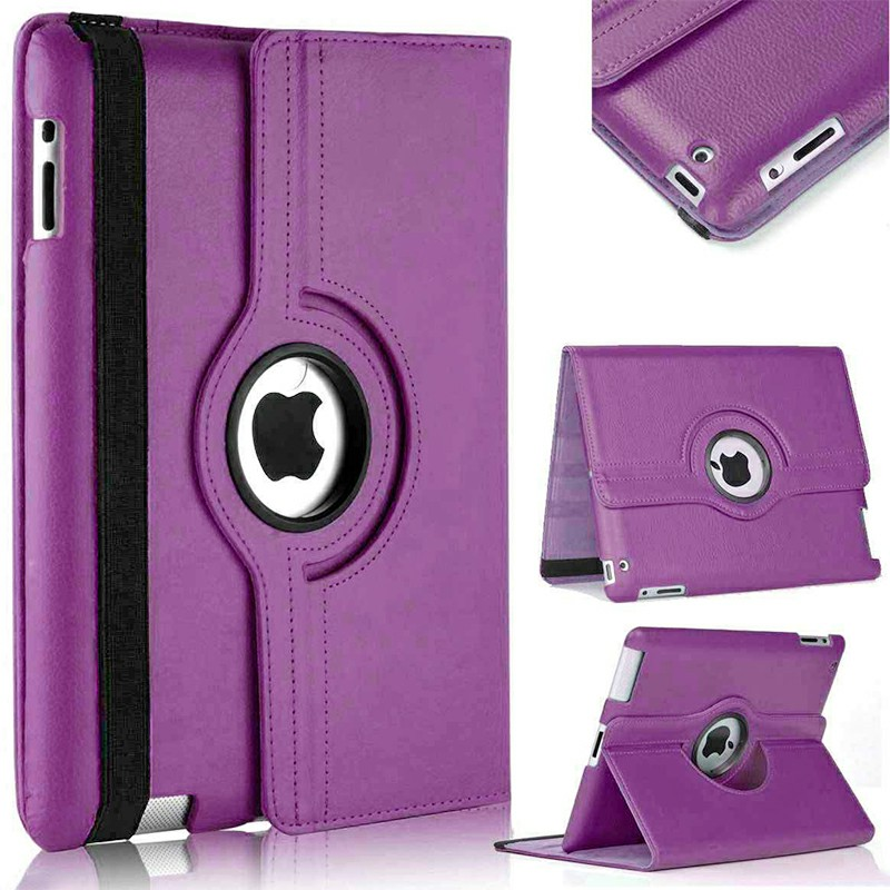 PU Leather Grainy Pattern 360 Degree Rotating Flip Case Protective Cover for iPad 2/3/4 - Purple
