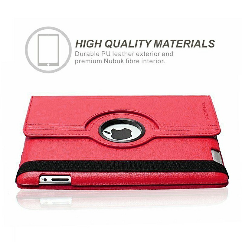 PU Leather Grainy Pattern 360 Degree Rotating Flip Case Protective Cover for iPad 2/3/4 - Red