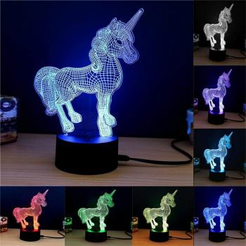 Acrylic 3D Unicorn Night Lamp 7 Colors Changing RGB Gradient Light Table Desk Lamps