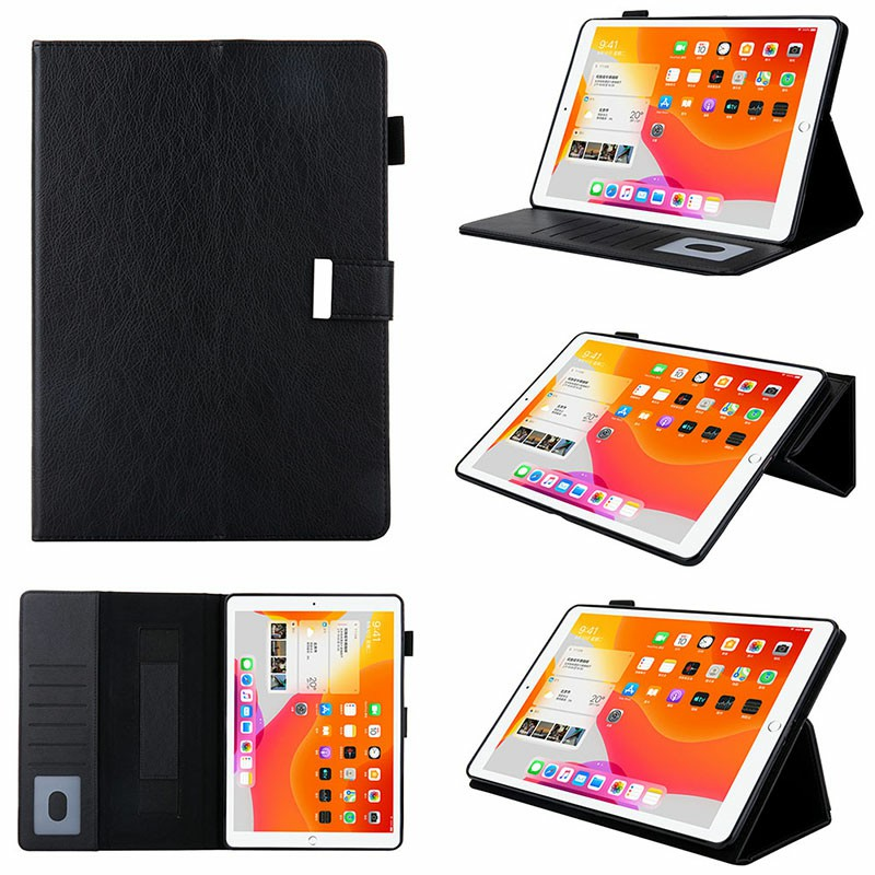 iPad Flip Stand PU Leather Case Multiple Viewing with Stylus Pen Holder Card Slot for iPad Mini 1/2/3/4/5 - Black