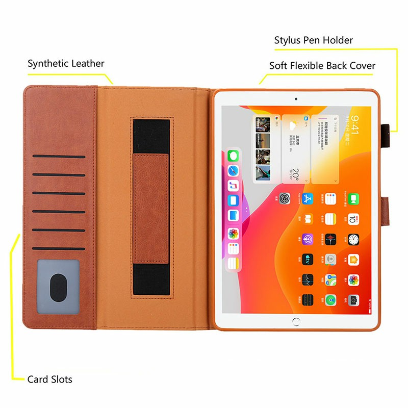 iPad Flip Stand PU Leather Case Multiple Viewing with Stylus Pen Holder Card Slot for iPad Mini 1/2/3/4/5 - Brown