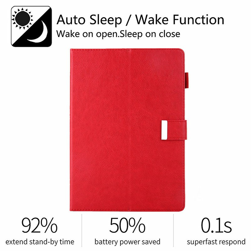 iPad Flip Stand PU Leather Case Multiple Viewing with Stylus Pen Holder Card Slot for iPad Mini 1/2/3/4/5 - Red
