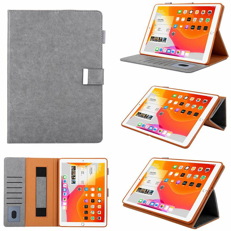 iPad PU Leather Case Multiple Viewing Flip Stand with Stylus Pen Holder Card Slot for iPad 5/6/7/8/9 - Grey