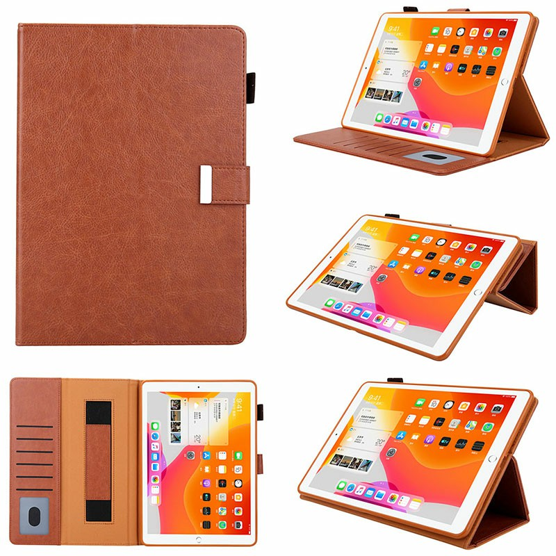iPad PU Leather Protective Case with Hand Strap Stylus Pen Holder Card Slot for iPad 10.2/10.5 inch - Brown