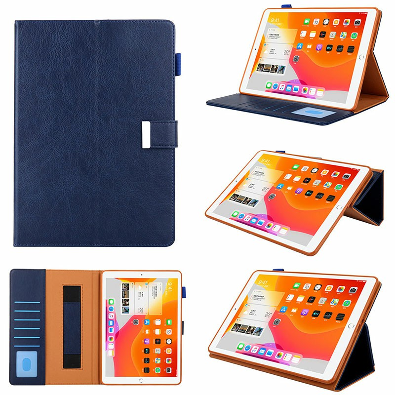 iPad PU Leather Protective Case with Hand Strap Stylus Pen Holder Card Slot for iPad 10.2/10.5 inch - Blue