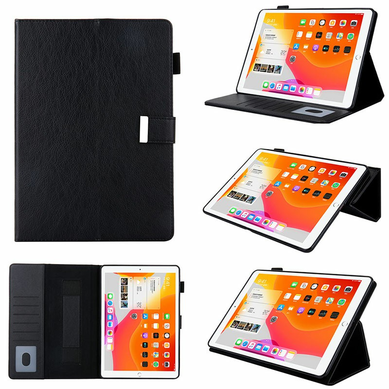iPad PU Leather Protective Case with Hand Strap Stylus Pen Holder Card Slot for iPad 10.2/10.5 inch - Black