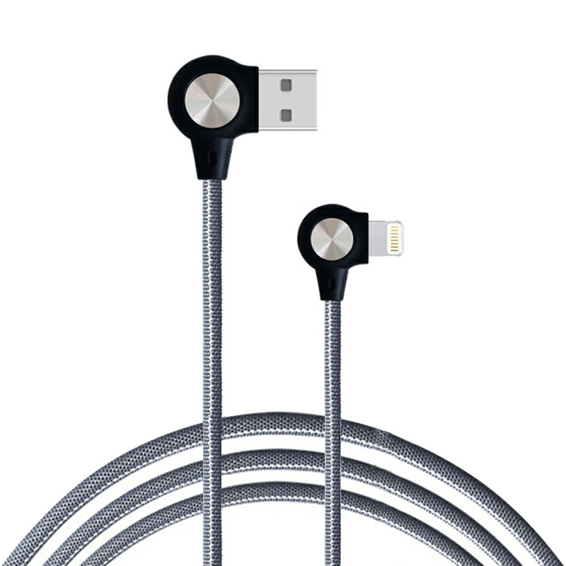1m Nylon Braided Durable 8pin Charging Cable Quick Charger Cable iPhone Cable - Grey